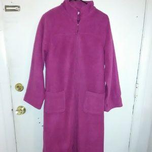 Women's LL Bean full zipper fleece robe.